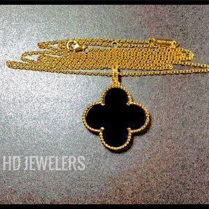 Jewelry - Black Onyx Pendant 18K Gold Clover Women Necklace